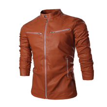 Men's Fashion Brief Paragraph Contracted Leather Motorcycle Jacket Men Leisure Brand High-Grade Mens Leather Jackets And Coats