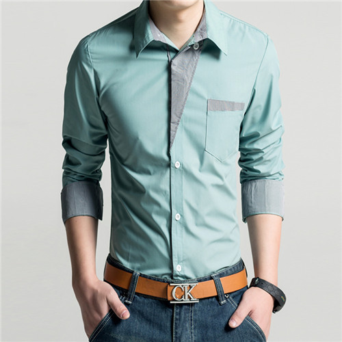 b0158ac01c7 2014 New Dress Fashion Quality Long Sleeve Shirt Men.Korean Slim Design