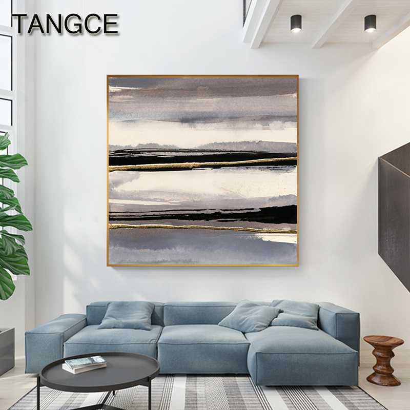 Abstract Gold Foil Black and White Canvas Painting Modern home Luxurious Poster and Print for Living Room Wall Art Tableau Salon