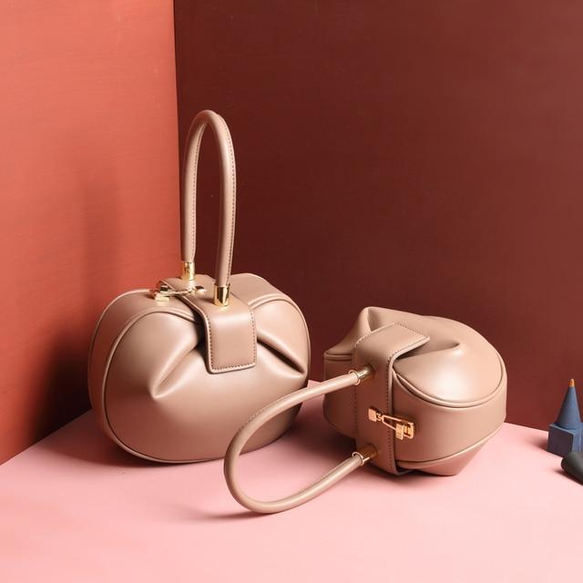 Burminsa Women Genuine Leather Hobos Bags Small Tote Bags Girls Elegant Handbags Designer Brand High Quality Ladies Evening Bags 1
