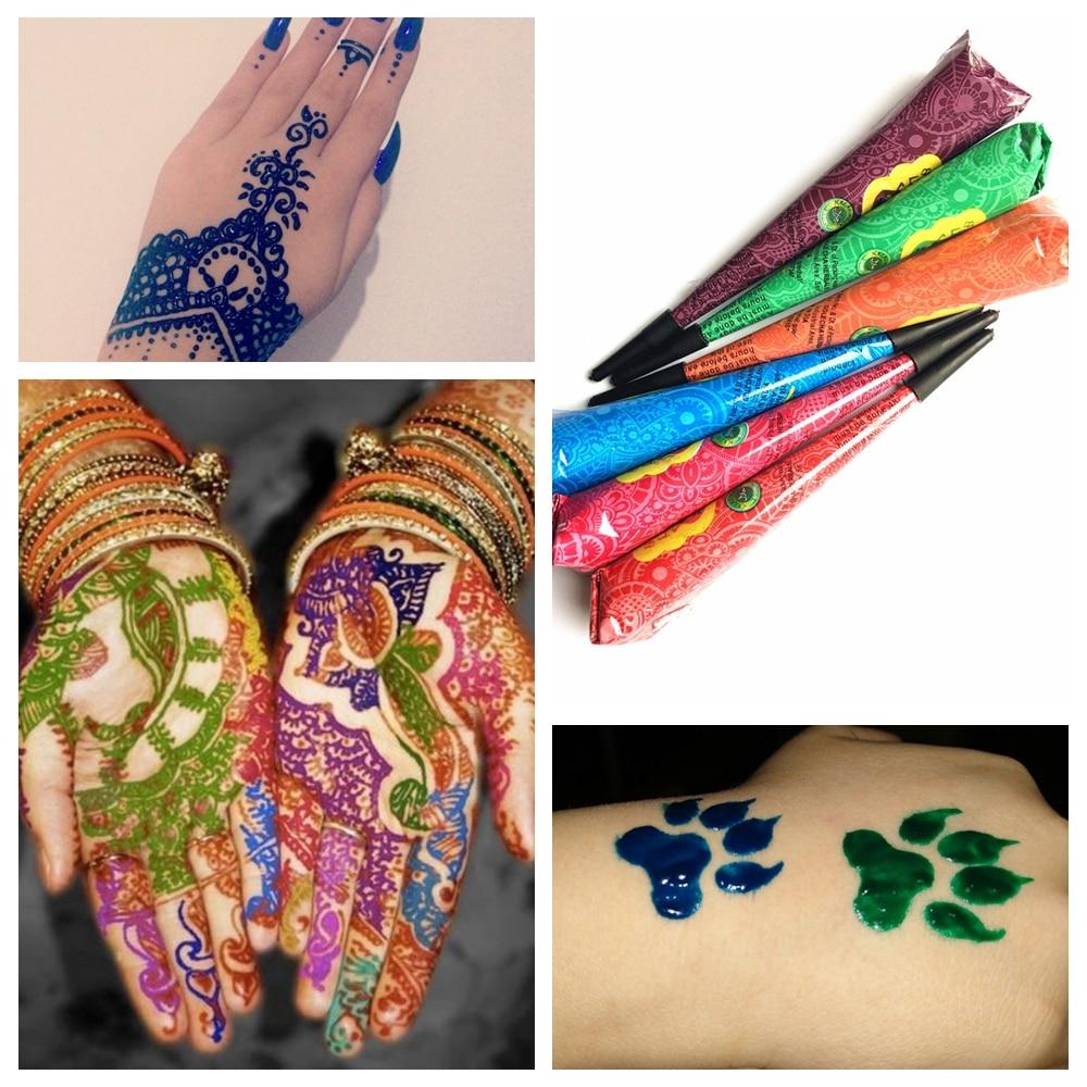 9 Color Design Sex Mehndi Henna Tattoo Paste, Indian Henna Cone Body Art Cream Temporary Body Paint Arts Wedding Tatoo marking tools