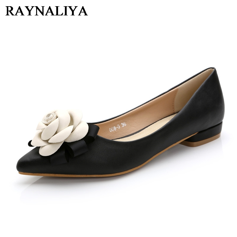 Sexy Pointed Toe Women Low Heel Pumps Spring Autumn Vintage Bowtie Flower Slip On Office Lady Single Females Shoes JS-B0031