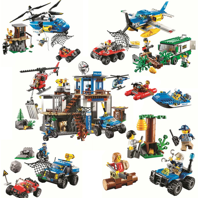 New City Police The Mountain Police Headquarters Building Blocks Diy Bricks Toys Best Gift Compatible With Lego Citys 60174 чиносы best mountain best mountain be534emkun71