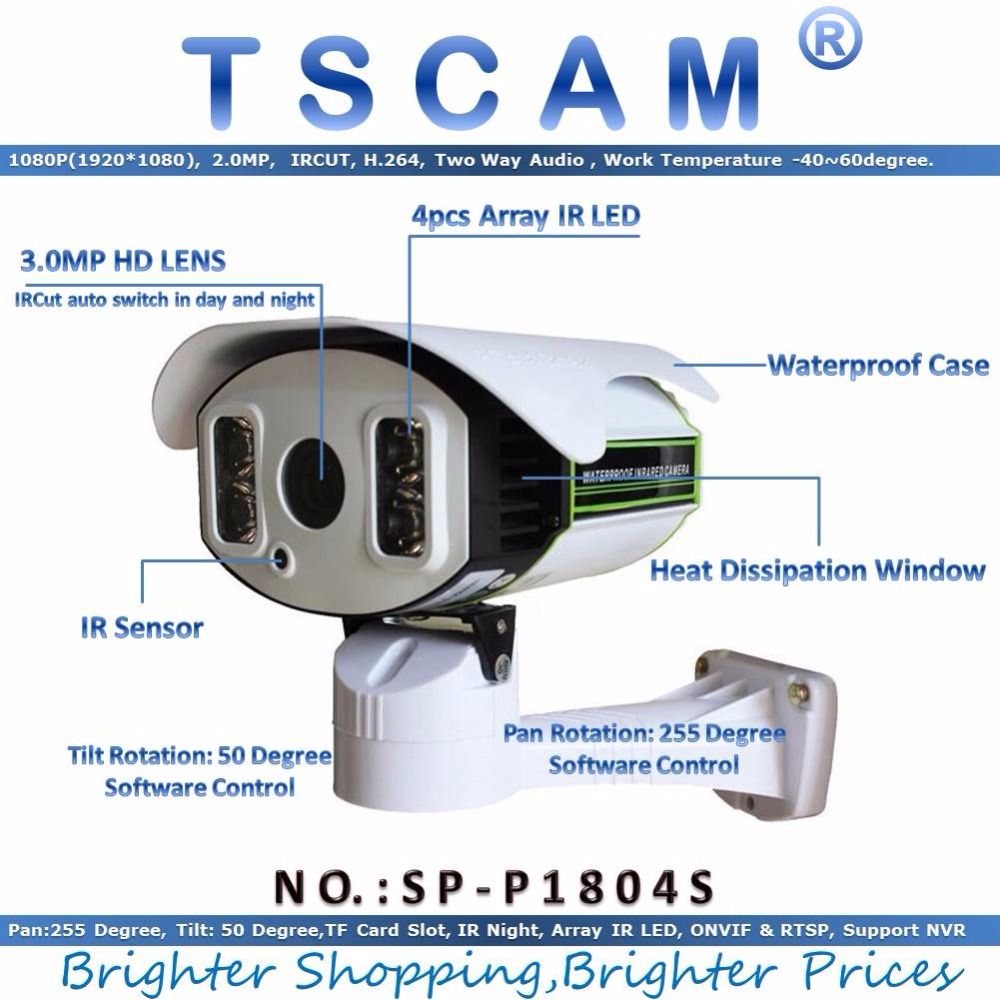 TSCAM new SP P1804S ONVIF Network IP Camera Outdoor Full HD 1080P 2 0MP Pan Tilt