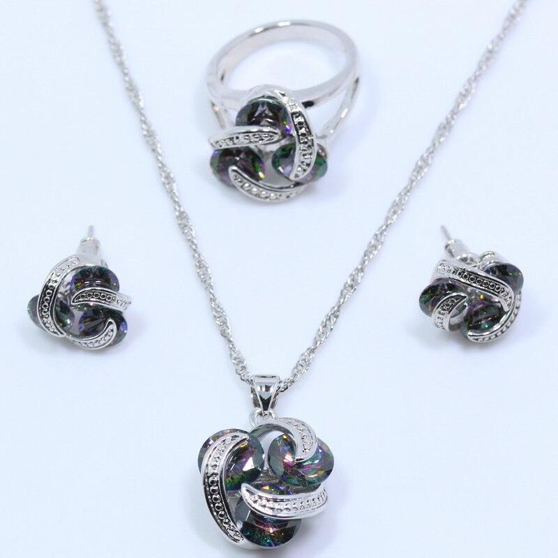 Jewelry-Set 925-Sterling-Silver Rainbow-Zircon Gift Women with 6 -7 -8 -9/-10/-t13