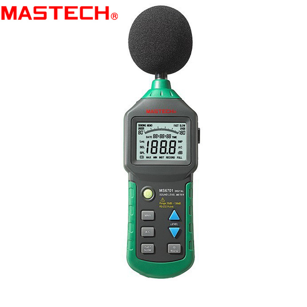 MASTECH MS6701 Auto Range Digital Sound Level Meter Decibel Tester 30dB to 130dB With USB Data Acquisition