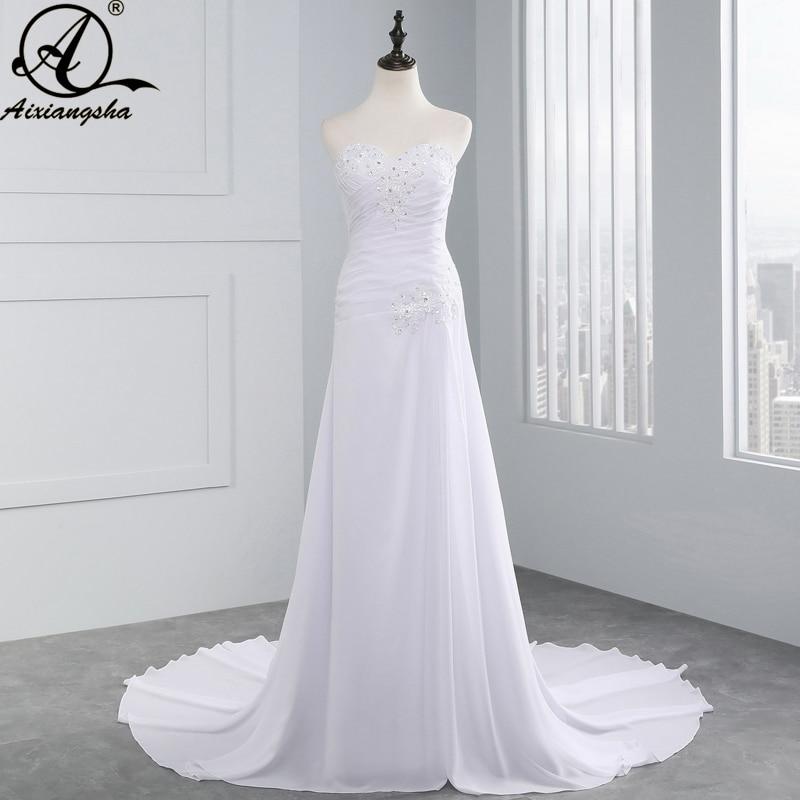 Seksi putih gaun pengantin line, 2018 Sayang sifon menyapu kereta Plus ukuran pantai elegan Backless vestido de Noiva