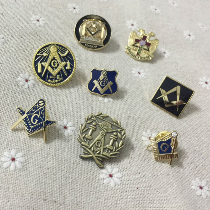 8pcs/set Different Masonic Lapel Pin and Badges Free Masons Pins Lodge Wreath Square and Compass Pillars and Mosaic Pavement