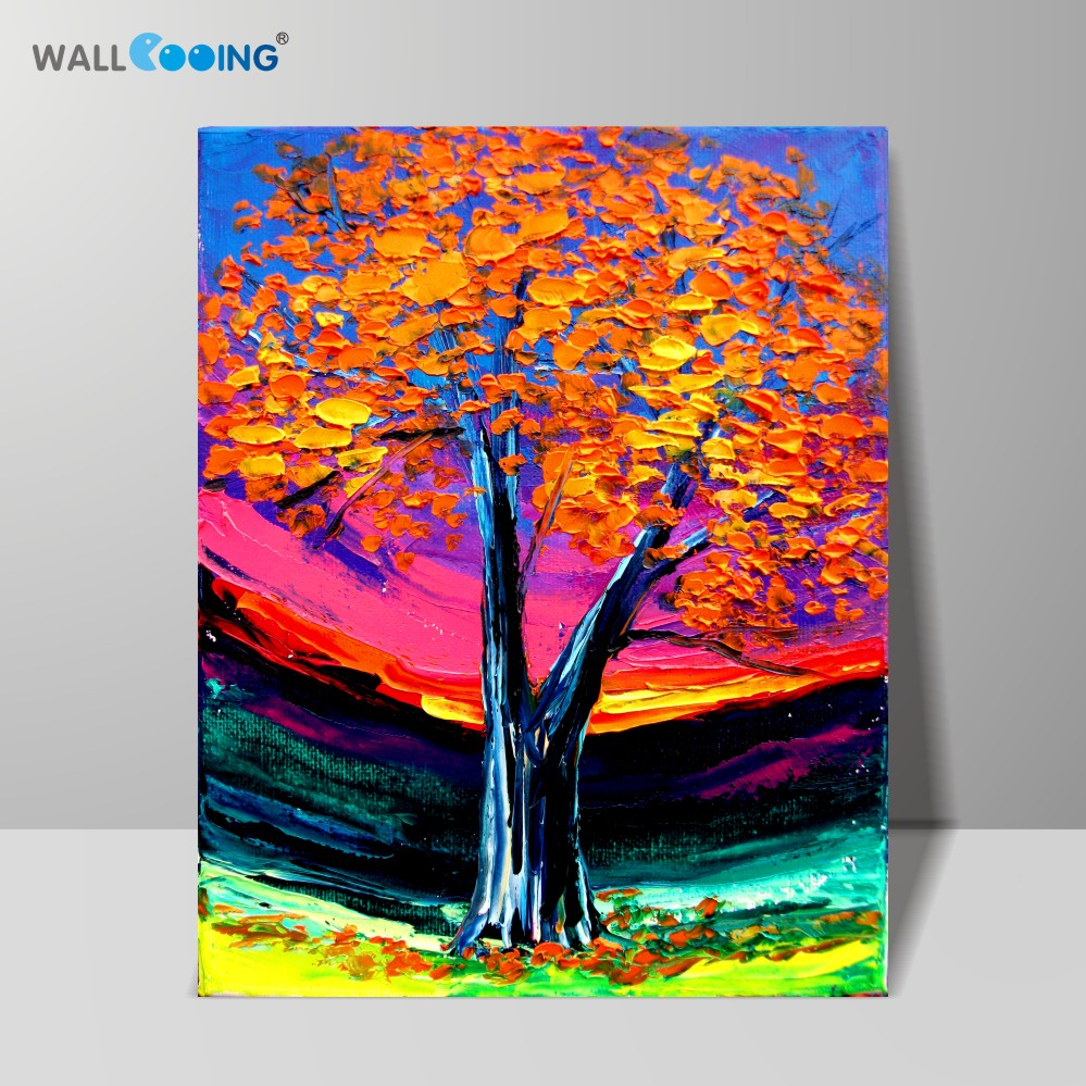 Artificial hand-painted oil painting Impressionist Maple pattern Original design Knife painting Home decoration Wall art