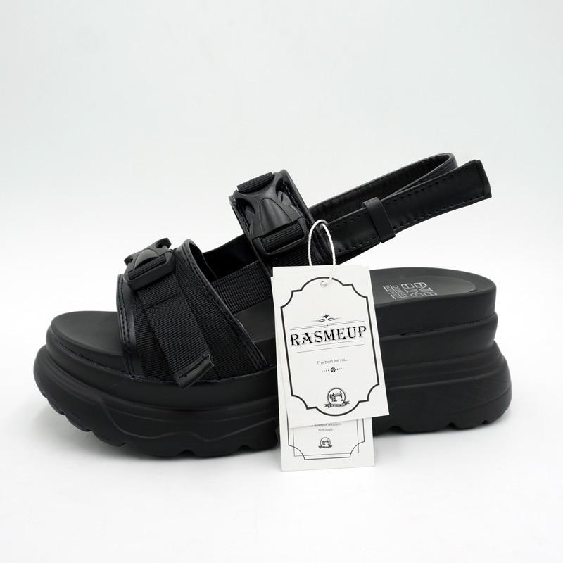 Frauen Schuhe Rasmeup 8 Cm Frauen Plattform Sandalen 2019 Mode Sommer Frauen Strand Chunky Sandale Casual Komfort Dicken Sohlen Frau Schuhe Schwarz