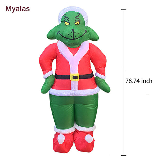 airblown inflatable 7 ft tall santa grinch costume for adults how the grinch stole christmas inflatable