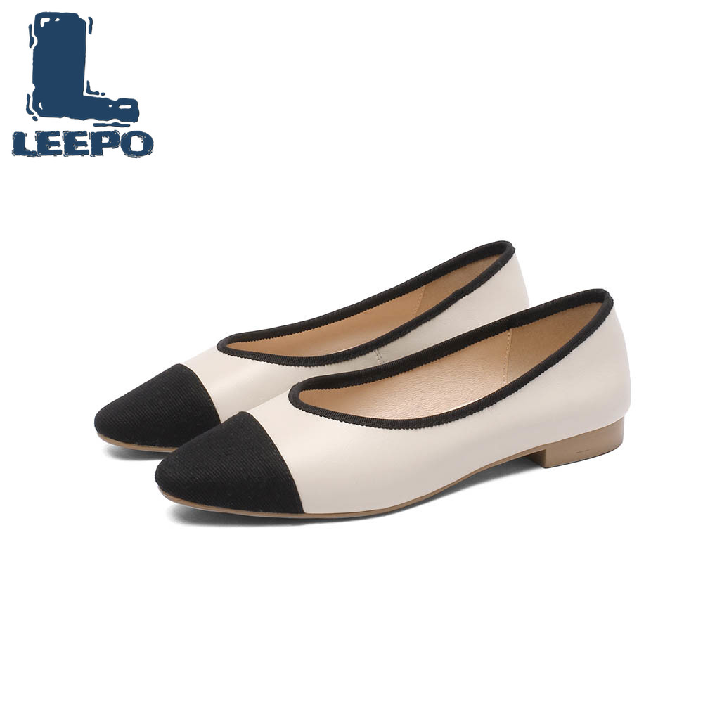 finest selection 418ef 2a533 LEEPO Flat Shoes Women Genuine Leather Ballerina Shoes Fenty ...