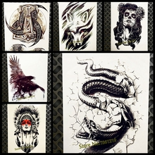 Vivid Large Black Cobra Snake Temporary Tattoo For Men Women 3D Body Art Tatoo 21x15cm Arm Chest Waterproof Fake Tattoo Stickers