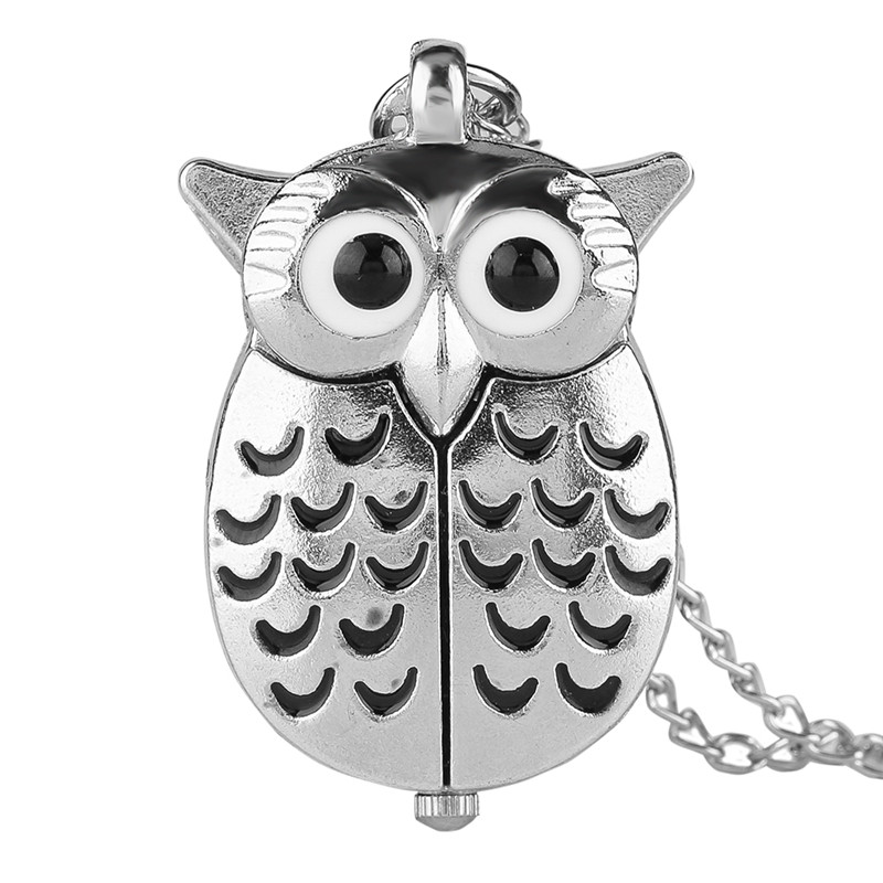 Cute Silver Night Owl Necklace For Girls Friends Women Lady Daughter Quartz Pocket Watch Pendant Necklaces Fashion Watches Chain