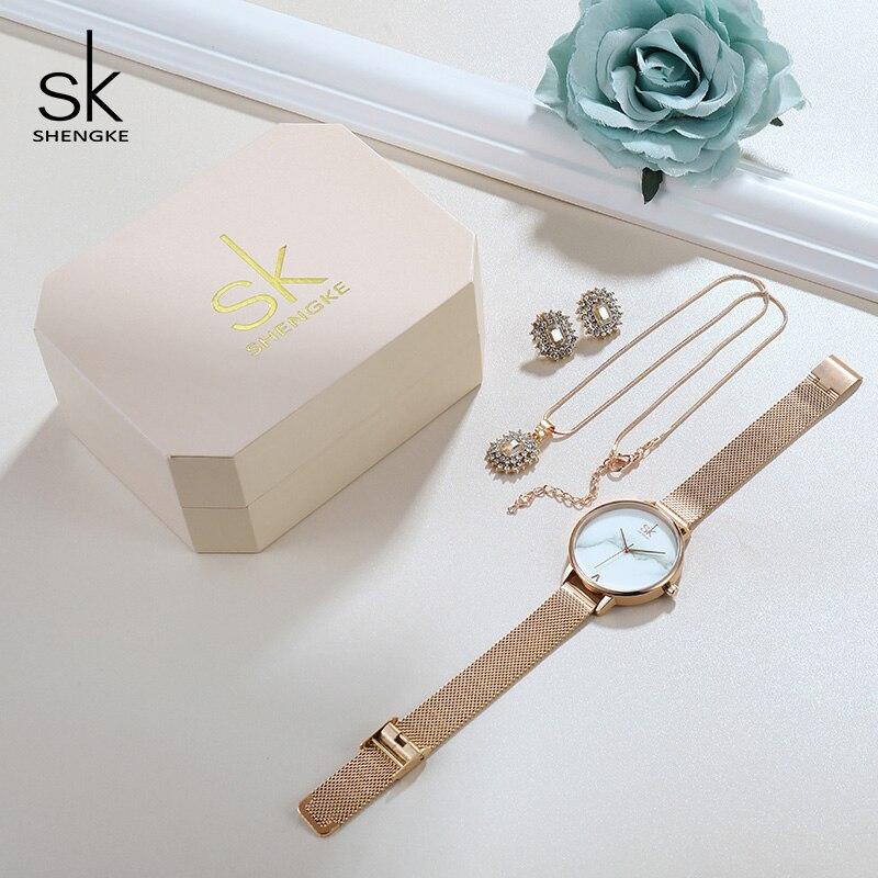 Shengke Rose Gold Creative Quartz Watch Women Earrings Necklace 2019 SK Ladies Watches Jewelry Set Luxury Gift Relogio Feminino