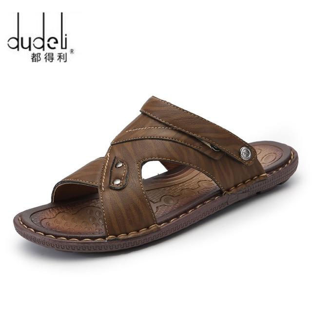f9a2e941a3cf DUDELI fish breathable summer men leather slides sandals shoes luxury brand  classical male italian formalbeach designer sandals