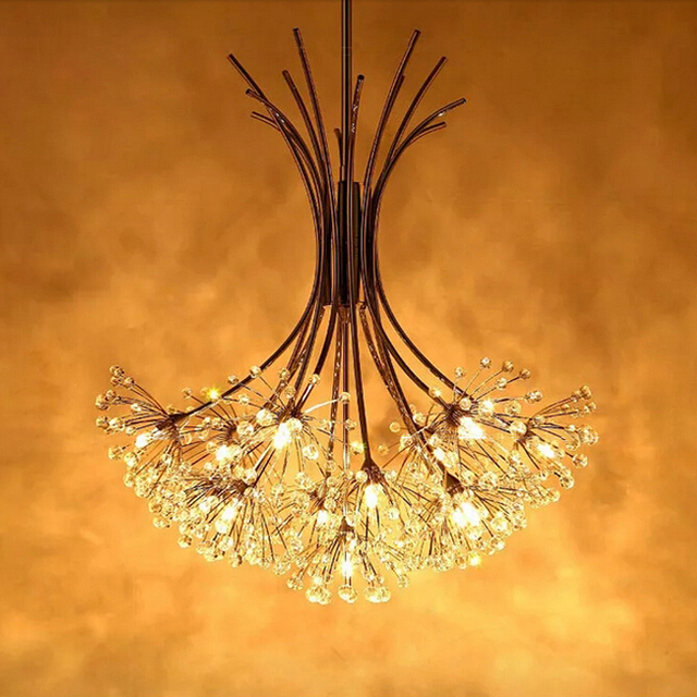 New Modern Wrought Iron Led Crystal Chandelier G4 Stainless Lustre ...