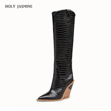 Купить с кэшбэком 2019 New brand microfiber leather women knee high boots sexy pointed toe western cowboy boots women mid-calf chunky wedge boots