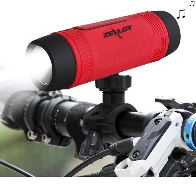 Zealot s1 bluetooth altavoz subwoofer portable banco de la energía recargable con luz led para el cargador + soportes para bicicletas de deporte al aire libre
