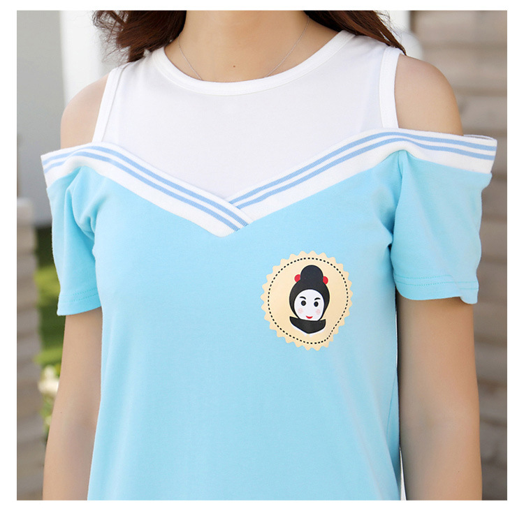 HTB19VPscf5G3KVjSZPxq6zI3XXae - Summer Clothes Family Matching Outfits Dad Son Short Sleeve T-Shirt Mother Daughter Dresses Cute Blue White Dress Clothing