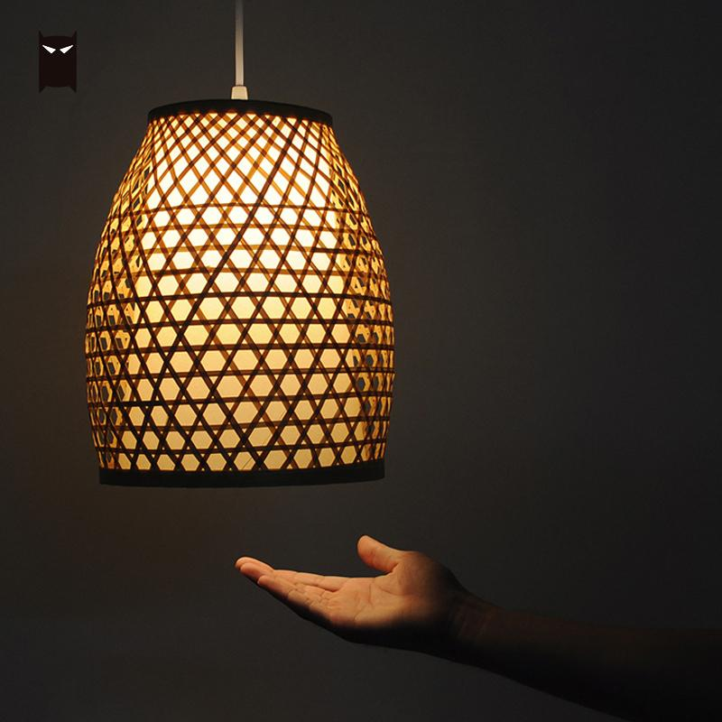 Bamboo Wicker Rattan Lantern Shade Pendant Light Fixture Chinese Japanese Vintage Rustic Hanging Lamp for Restaurant Balcony E27 цены