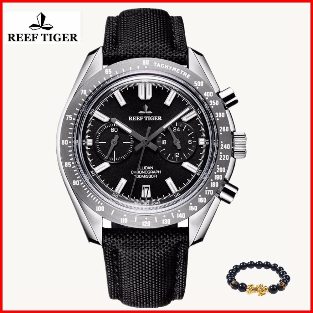 Reef Tiger Brand Luxury Mens Watches Sport Chronograph Date Waterproof Super Luminous Nylon Strap Quartz Watch Relogio Masculino lige horloge 2017