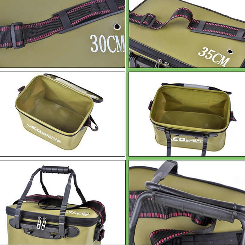 Leo Portabel Lipat Ikan Memakai Ember Outdoor EVA Kotak Peralatan Memancing dengan Pegangan Tas Pancing Outdoor Memancing Tangki Air