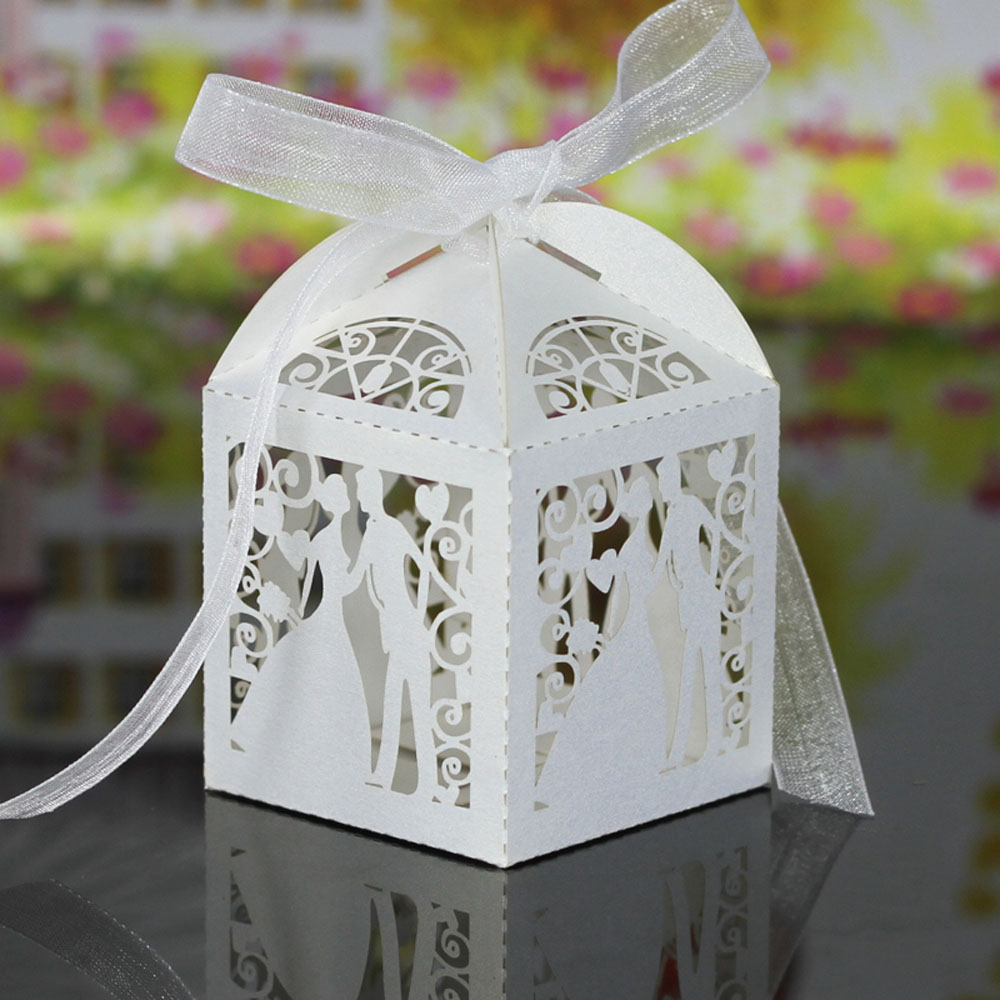 White Pink Handmade Laser Cut Bridegroom Candy Boxes with Ribbons ...