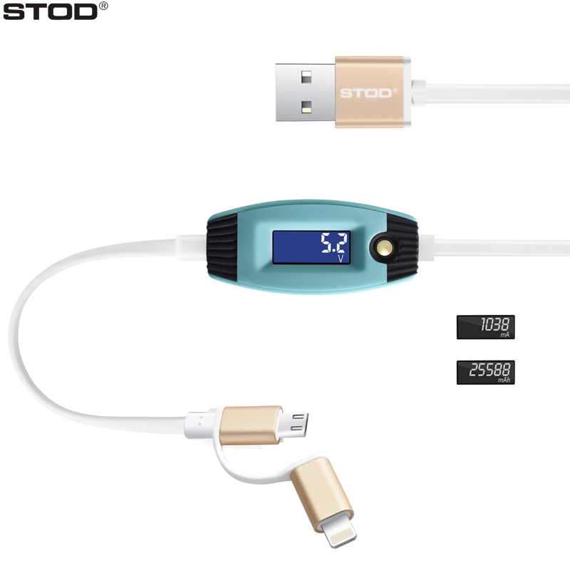 BTOD 2 IN 1 USB Cable LED Screen Display PC-Fast Charging Capacitance Record Smart Protector For Samsung Huawei Mi Charger Line