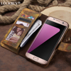 LUCKBUY 2018 Case For Galaxy S7 Vintage Luxury New Woods Pattern Painted PU Leather Flip Wallet