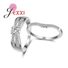 JEXXI Luxury Fine Jewelry Rings 925 Sterling Silver and A+++ Cz Diamond Crystal Wedding Accessories Ring Set Bijoux Jewelry