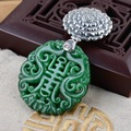 Real Pure 925 Sterling Silver Emeralds Natural Stone Pendant for Women with Chinese Character Bless Peace Jade Jewelry