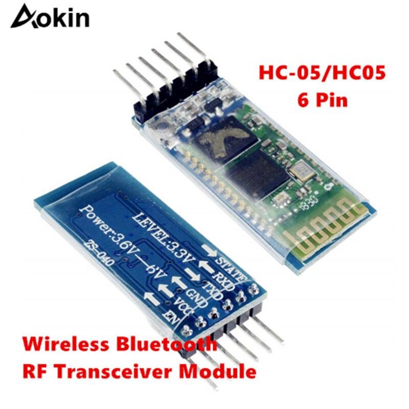 Aokin HC-05 6 Pin Wireless Bluetooth RF Transceiver Module For Arduino BT Serial Pass-Through Module HC05 Wireless Serial HC05
