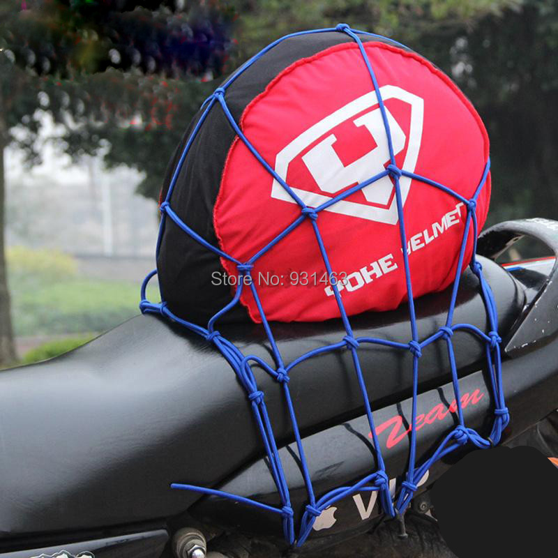 30*30cm Motorcycle Trunk Box bag 6 Hooks Hold Down Fuel Tank Luggage Net Mesh Bungee