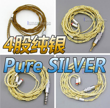 Extremely Soft 7N OCC Pure Silver + Gold Plated Earphone Cable For Shure se535 se846 se425 se215 MMCX LN005947 3 5mm 2 5mm 4 4mm dual 8 16 cores occ silver mixed headphone cable for shure se215 se315 se425 se535 se846