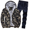 Camouflage Fleece Hoodie Outwear 2 Pieces Set