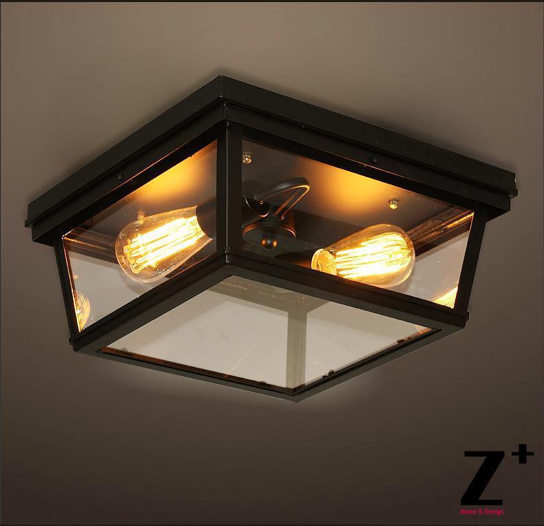 American Style Rh Cambridge Flushmount Edison Lights Ceiling Lamp Vintage Gl Iron Light