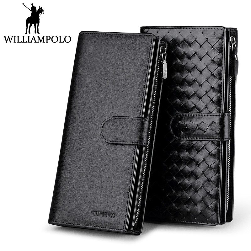 WILLIAMPOLO Genuine Leather Phone Wallet Men Dress Business Male Handy Clutch Bag Card Holder Weaving Long Zippy Wallet Case men s purse long genuine leather clutch wallet travel passport holder id card bag fashion male phone business handbag