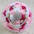Nueva Rosa Ramos De Novia de Encaje Satén Rosa Broche de Perlas de Cristal Nupcial Que Sostiene Las Flores de La Novia y Dama de Honor