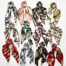 Fashion Floral Print Scrunchie Silk Elastic Hair Band For Women Hair Scarf Bows Rubber Ropes Girls Hair Ties Hair Accessory