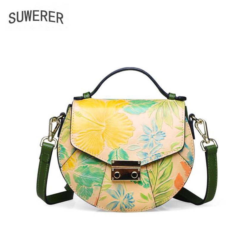 SUWERER New Genuine Leather women bags  Flowers Fashion mini handbags women bags designer women leather handbags suwerer new genuine leather women bags special craftsmanship fashion luxury handbags women bags designer women leather handbags