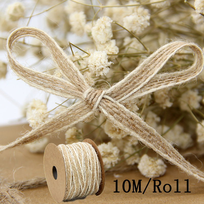 10M/Roll Width 0.5cm Jute Burlap Rolls Hessian Ribbon With Lace Vintage Rustic Wedding Decoration Ornament Party Wedding Decor-in Party DIY Decorations from Home & Garden