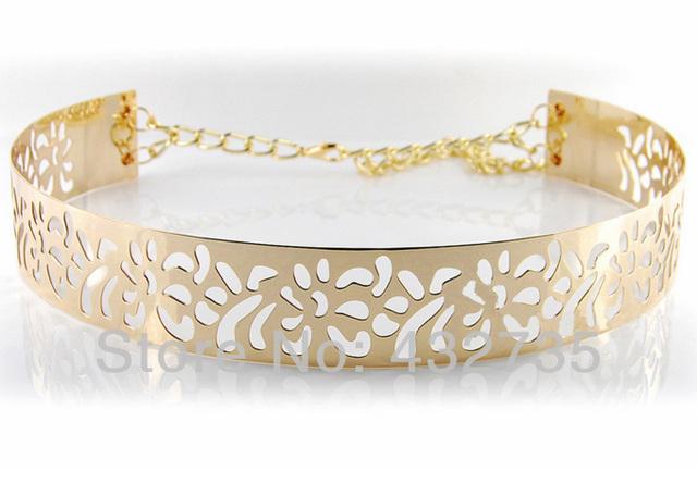 Al por menor nueva moda 2013 oro completo corte de Metal con cadena para mujer cinturón de cintura ancha para la ropa de mujer vendimia, envío gratis