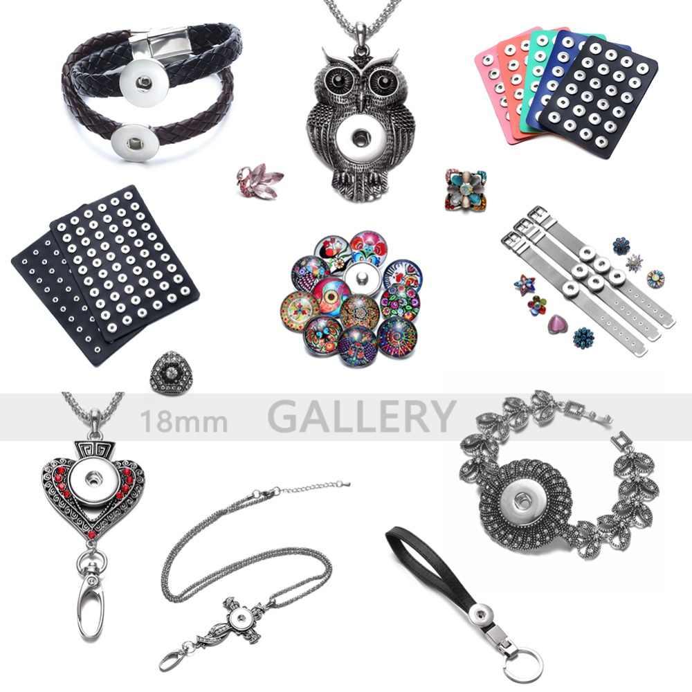 Royalbeier 12 sztuk/partia wilk szkło Cabochon i zatrzaski 18mm przystawki przycisk bijuterias urok DIY bransoletka biżuteria kobiety berloque