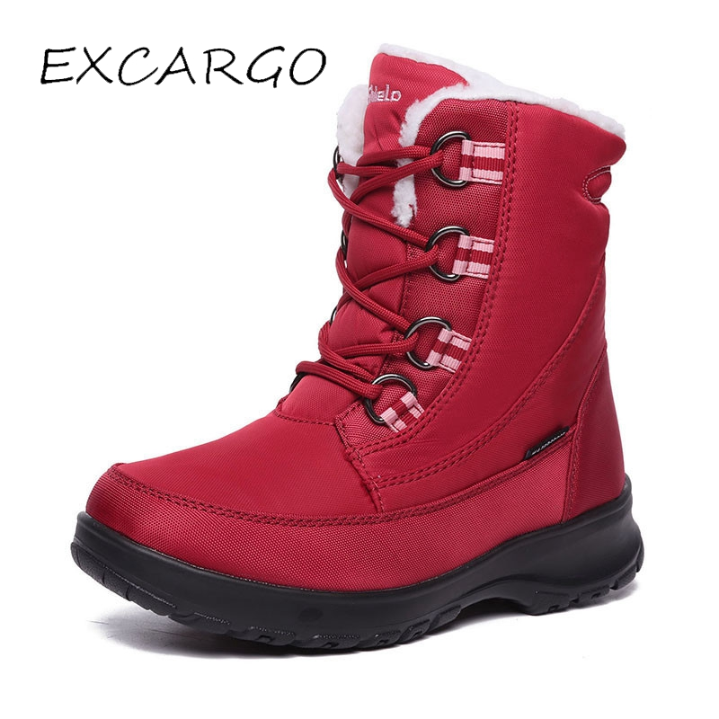 EXCARGO Winter Ourdoor Snow Boots Woman Anti Slip 2018 Winter New Velvet Warm Female Fashion Shoes Waterproof Snow Boots Woman