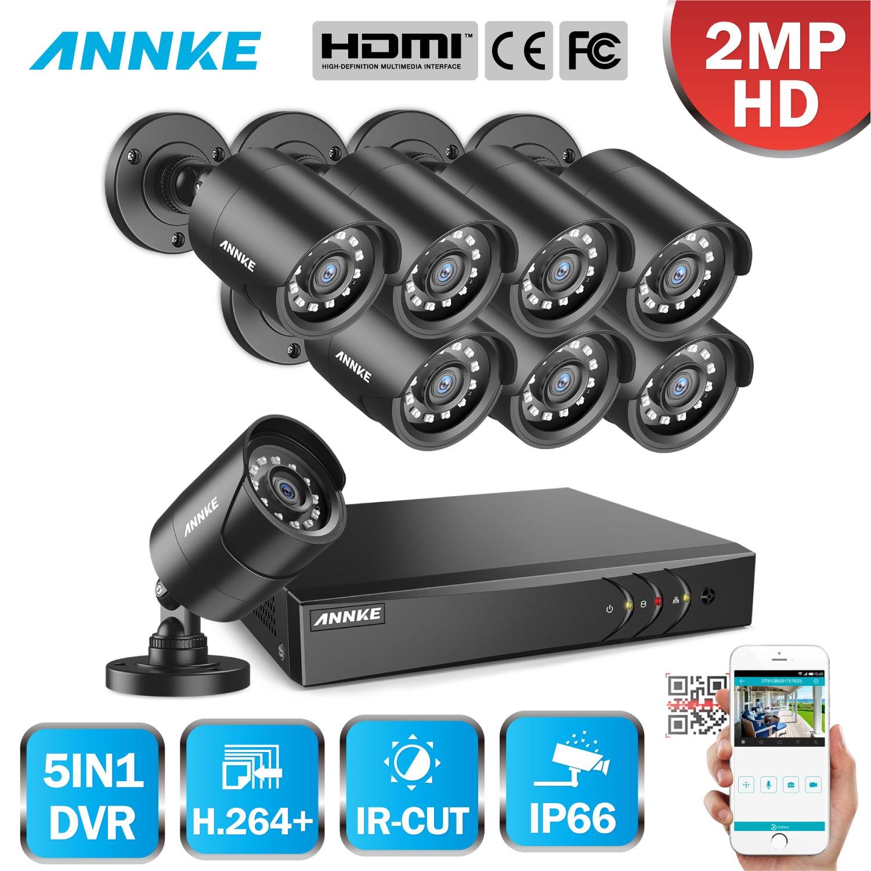 ANNKE 1080P H 264 8CH CCTV Camera DVR System 8pcs IP66 Waterproof 2 0MP Bullet Cameras