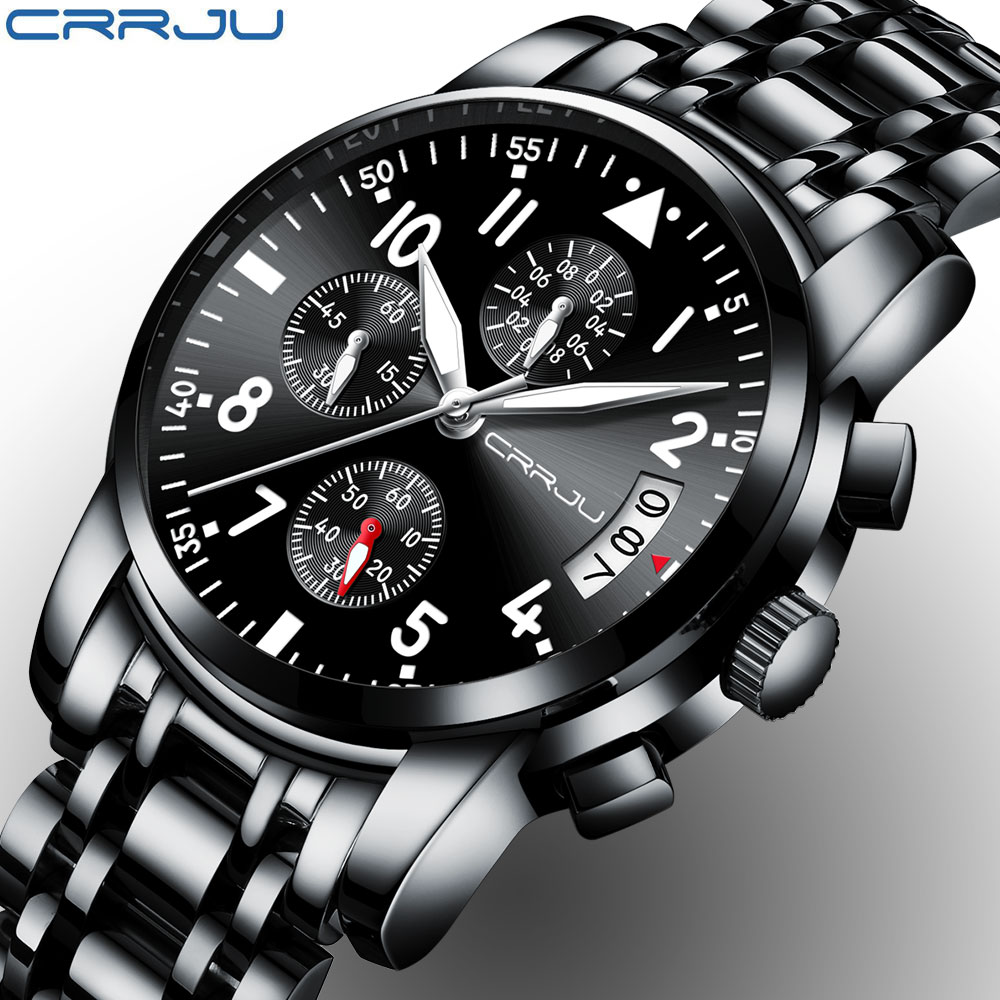 CRRJU Sport Watch Men Quartz Military Casual Watches Men's Chronograph Wristwatch Army Waterproof Clock Men Full Steel Hour fashion black full steel men casual quartz watch men clock male military wristwatch gift relojes hombre crrju brand women watch