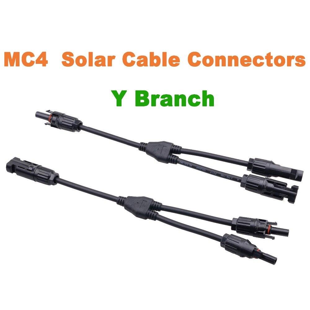 1 Pair MC4 Y Branch Connectors Cable Solar Panel Cable Connector MC4 Cable Conectores Send from USA/AU