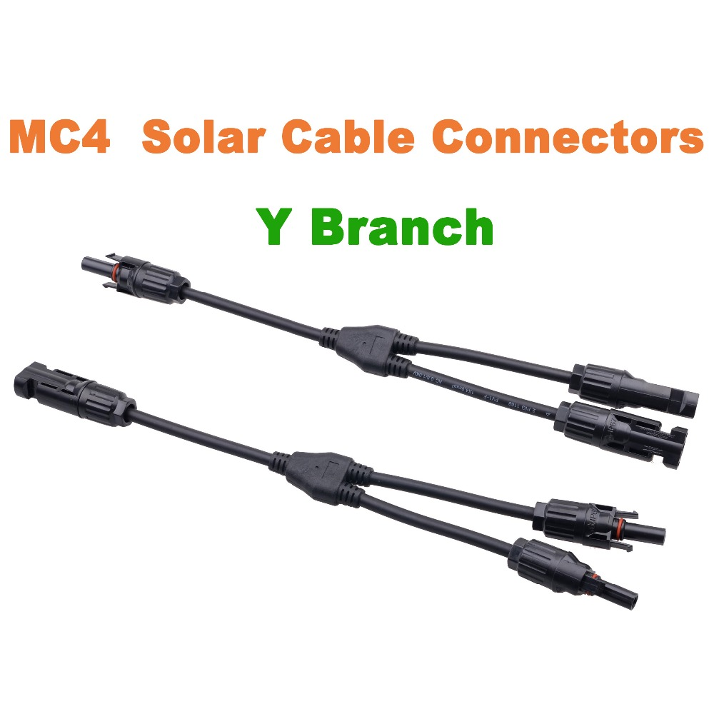 1 Pair MC4 Y Branch Connectors Cable Solar Panel Cable Connector MC4 Cable Conectores mc4 y branch solar panel 30a connector mmmmf ffffm set wire t splitter