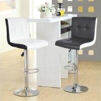 2Pcs/set 6 grid Backrest Bar Stools PU Leather Bar Chair Rotating Lift Chair Home Leisure Swivel Chair Tabouret De Bar HWC
